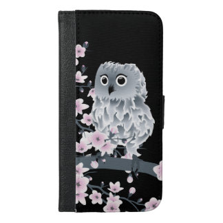 Cute Owl and Cherry Blossoms Pink Black iPhone 6/6s Plus Wallet Case