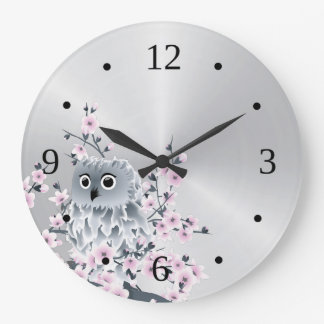 Cute Owl and Cherry Blossoms Silver Large Clock