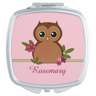 Cute Owl and Flowers Compact Mirror