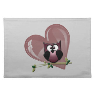 Cute Owl and Heart American MoJo Placemat