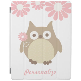 Cute Owl and Pink Flowers Personalized iPad Cover
