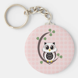 Cute Owl and Polka Dots Keychain