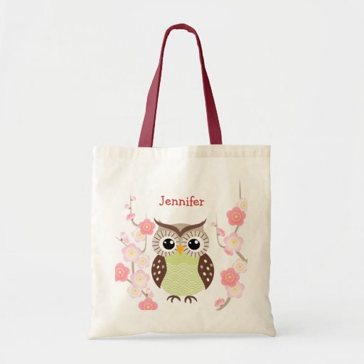Cute Owl and Ume Flower Tote Bag