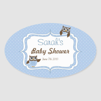 Cute Owl Baby Boy Shower Oval Stickers
