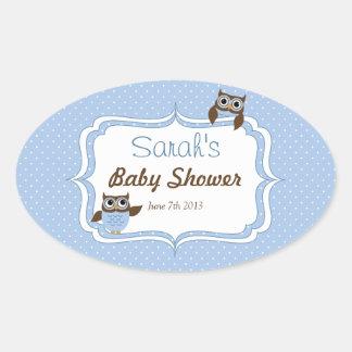 Cute Owl Baby Boy Shower Oval Stickers Oval Stickers