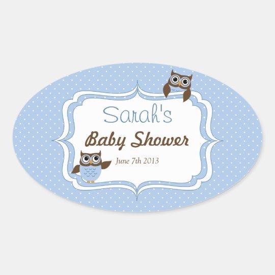 Cute Owl Baby Boy Shower Oval Stickers