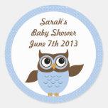 Cute Owl Baby Boy Shower Stickers Sticker