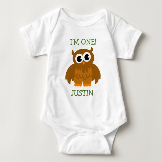 Cute owl baby first Birthday jumpsuit for infant