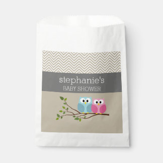 Cute Owl Baby Girl or Boy Gender Reveal Shower Favour Bags