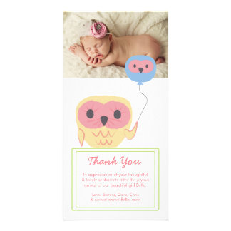 Cute Owl Baby Girl Thank You Photo Template Customised Photo Card