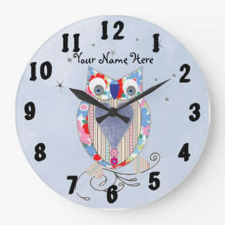 Cute Owl Baby Nursery Decor Wall Clock Personalise
