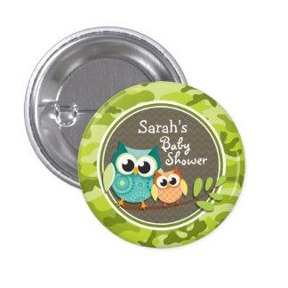 Cute Owl Baby Shower green camo Button