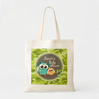 Cute Owl Baby Shower green camo Canvas Bag