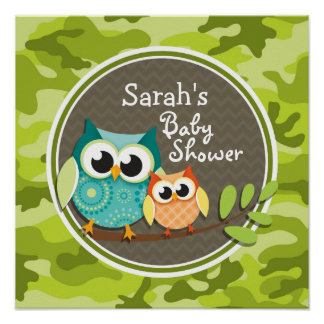 Cute Owl Baby Shower; green camo Poster