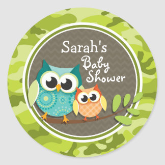 Cute Owl Baby Shower green camo Stickers