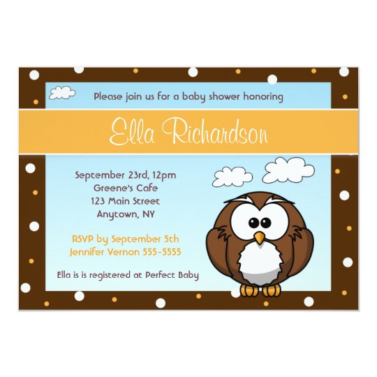 Cute Owl Baby Shower Invitation