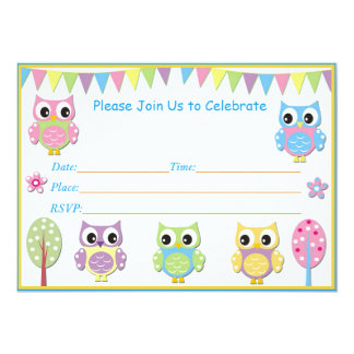 Cute Owl  Baby Shower Invitation Pink & Purple