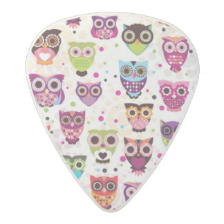 Cute owl background pattern for kids acetal guitar pick