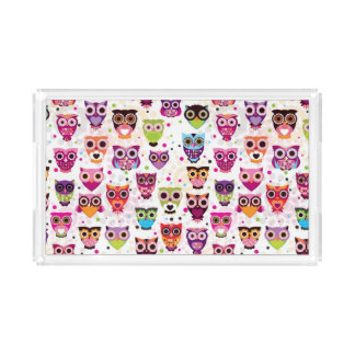 Cute owl background pattern for kids acrylic tray