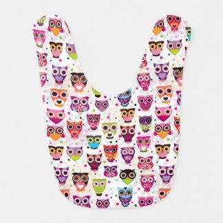 Cute owl background pattern for kids baby bib