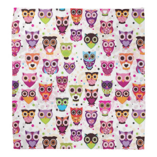 Cute owl background pattern for kids bandana