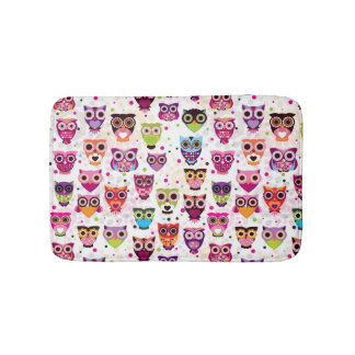 Cute owl background pattern for kids bath mat