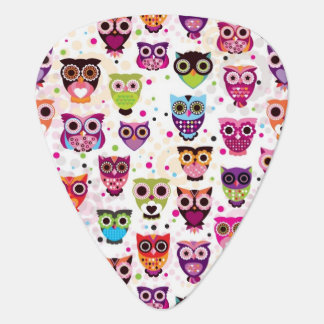 Cute owl background pattern for kids guitar pick