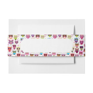 Cute owl background pattern for kids invitation belly band