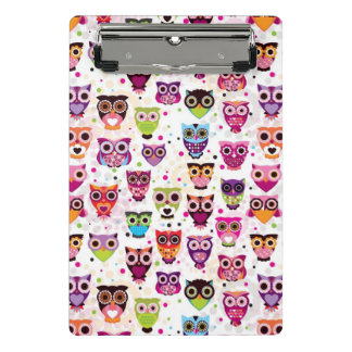 Cute owl background pattern for kids mini clipboard