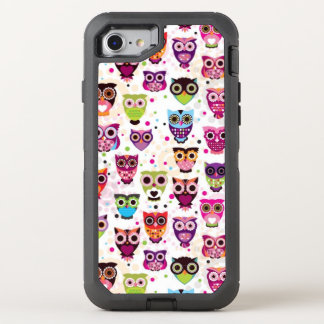 Cute owl background pattern for kids OtterBox defender iPhone 8/7 case