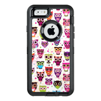 Cute owl background pattern for kids OtterBox defender iPhone case