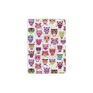 Cute owl background pattern for kids passport holder