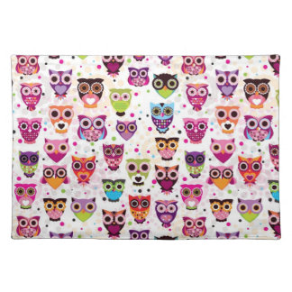 Cute owl background pattern for kids placemat