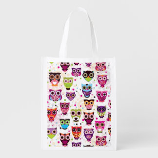 Cute owl background pattern for kids reusable grocery bag