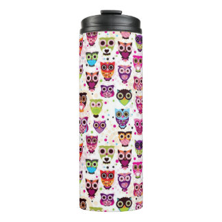 Cute owl background pattern for kids thermal tumbler