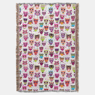 Cute owl background pattern for kids throw blanket