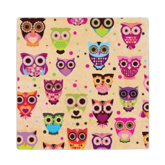 Cute owl background pattern for kids wood coaster