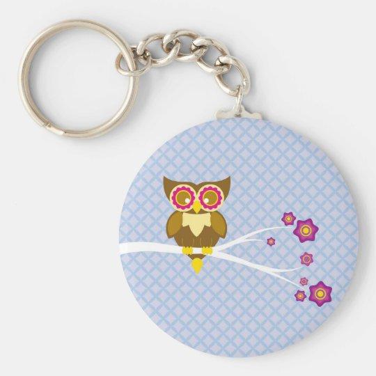 Cute owl basic round button key ring