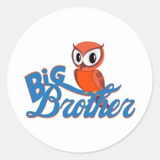 Cute Owl Big Brother Classic Round Sticker