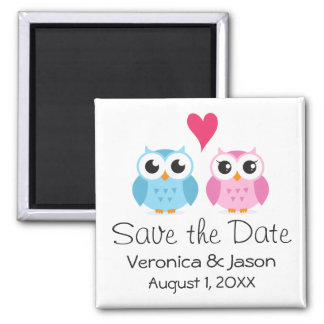 Cute owl bird couple with heart save the date square magnet