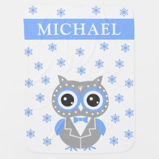 Cute Owl Blue & Gray Baby Boy Baby Blanket