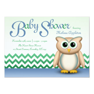 Cute Owl - Blue & Green Chevron Baby Shower Card