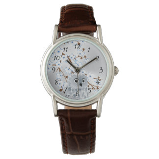 Cute Owl Blue Silver Cherry Blossoms Numbers Watch