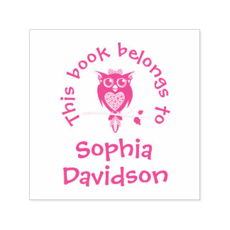 Cute owl book name kids library stamp