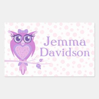 Cute Owl book plate name purple id label sticker