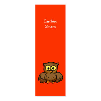 Cute owl bookmark pack of skinny business cards