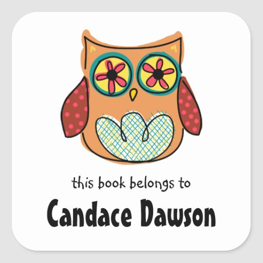 Cute Owl Bookplate Labels Sticker