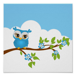 Cute Owl Boy on a Branch Poster