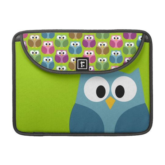 Cute Owl Cartoon and Pattern Sleeve For MacBooks