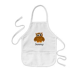 Cute owl cartoon apron for kids | Customise name